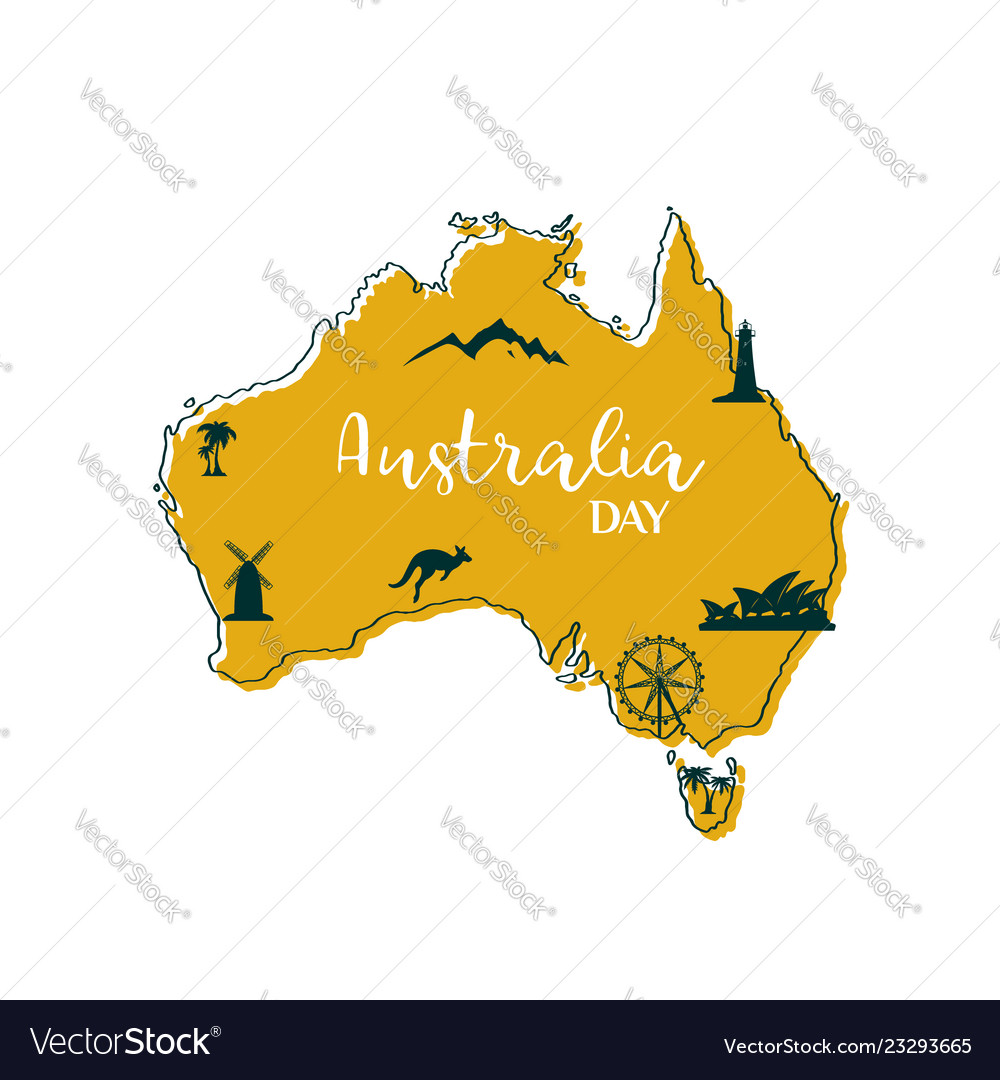 Map Of Australia 26th Parallel.Stylized Map Of Australia With Main Australian