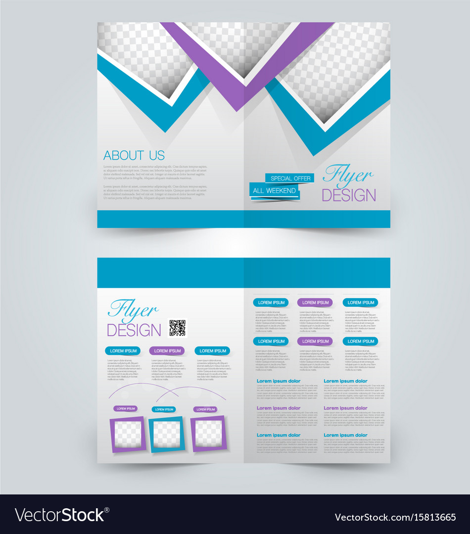 Two Page Fold Brochure Template Design Royalty Free Vector