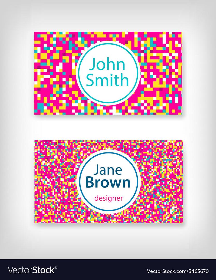 8 bit business card design vector image