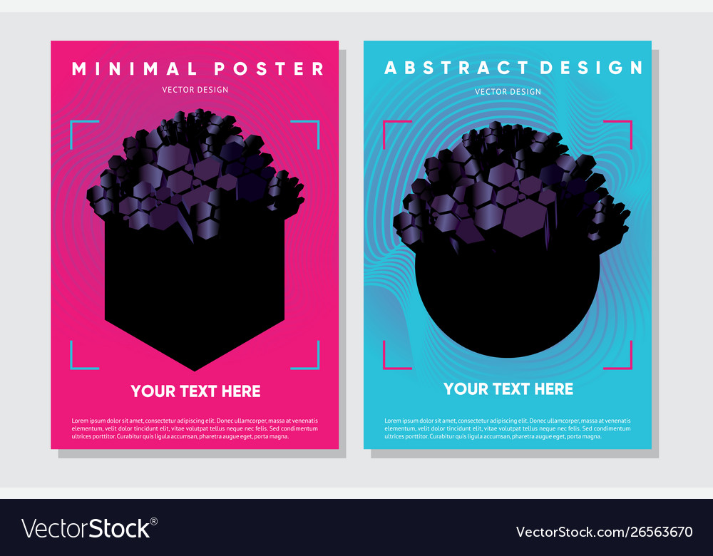 Abstract posters with 3d elements futuristic