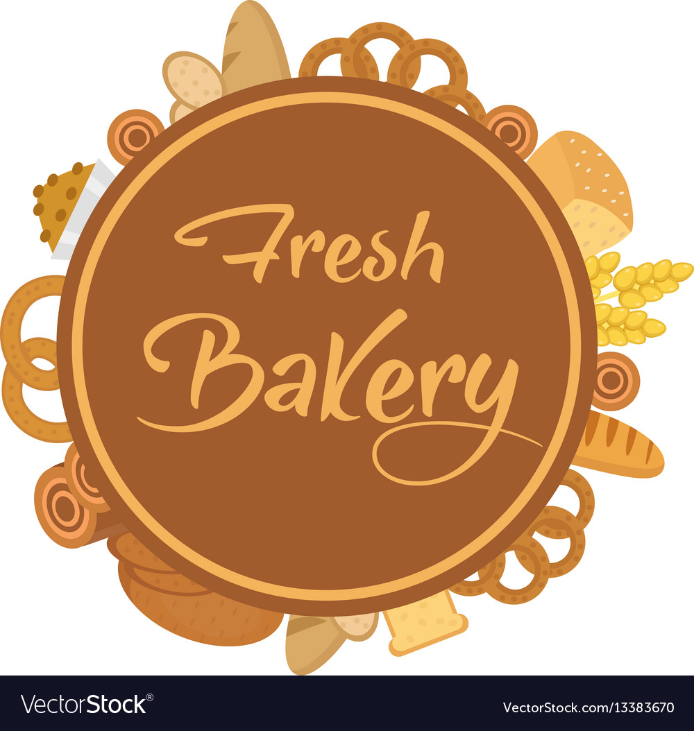 Bakery products frame with bread loaf buns
