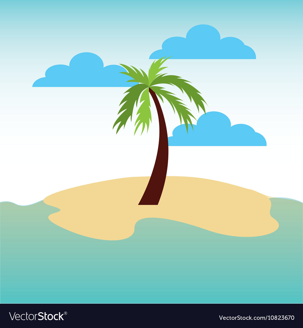 Beach landscape vacations icon