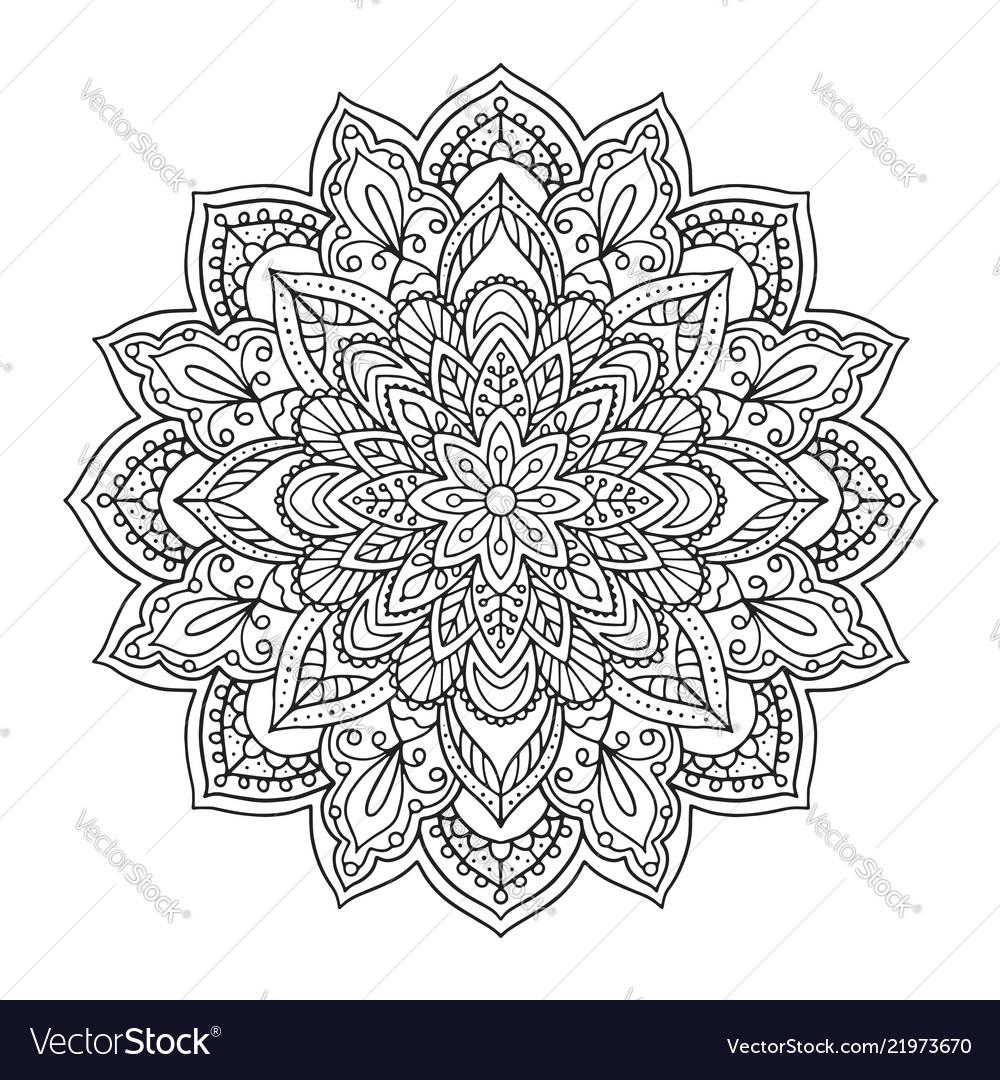 Black indian mandala on white background