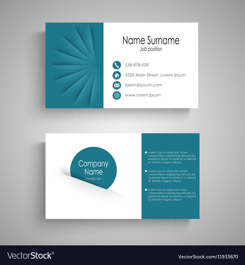 Business card with with abstract blue pockets vector image colourmoves