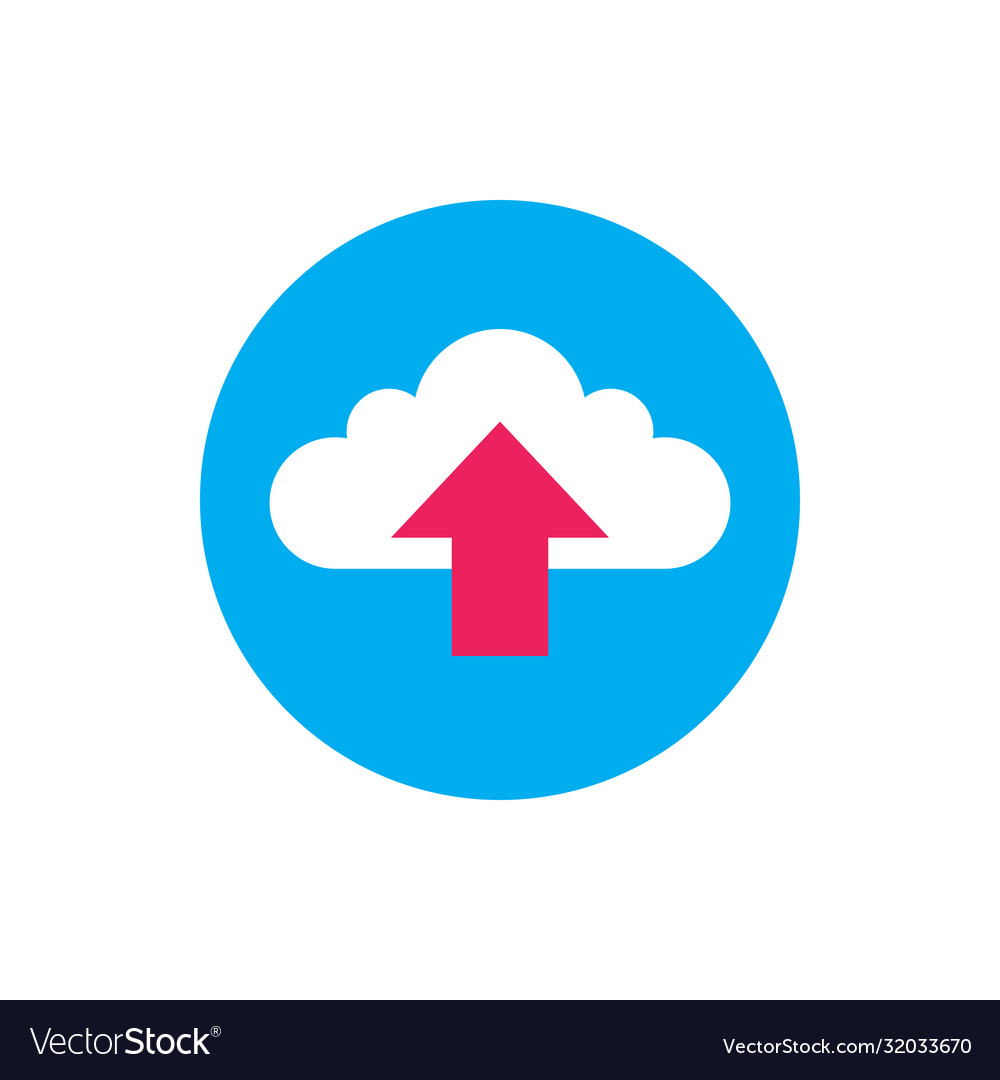 Cloud upload - concept icon in flat graphic design