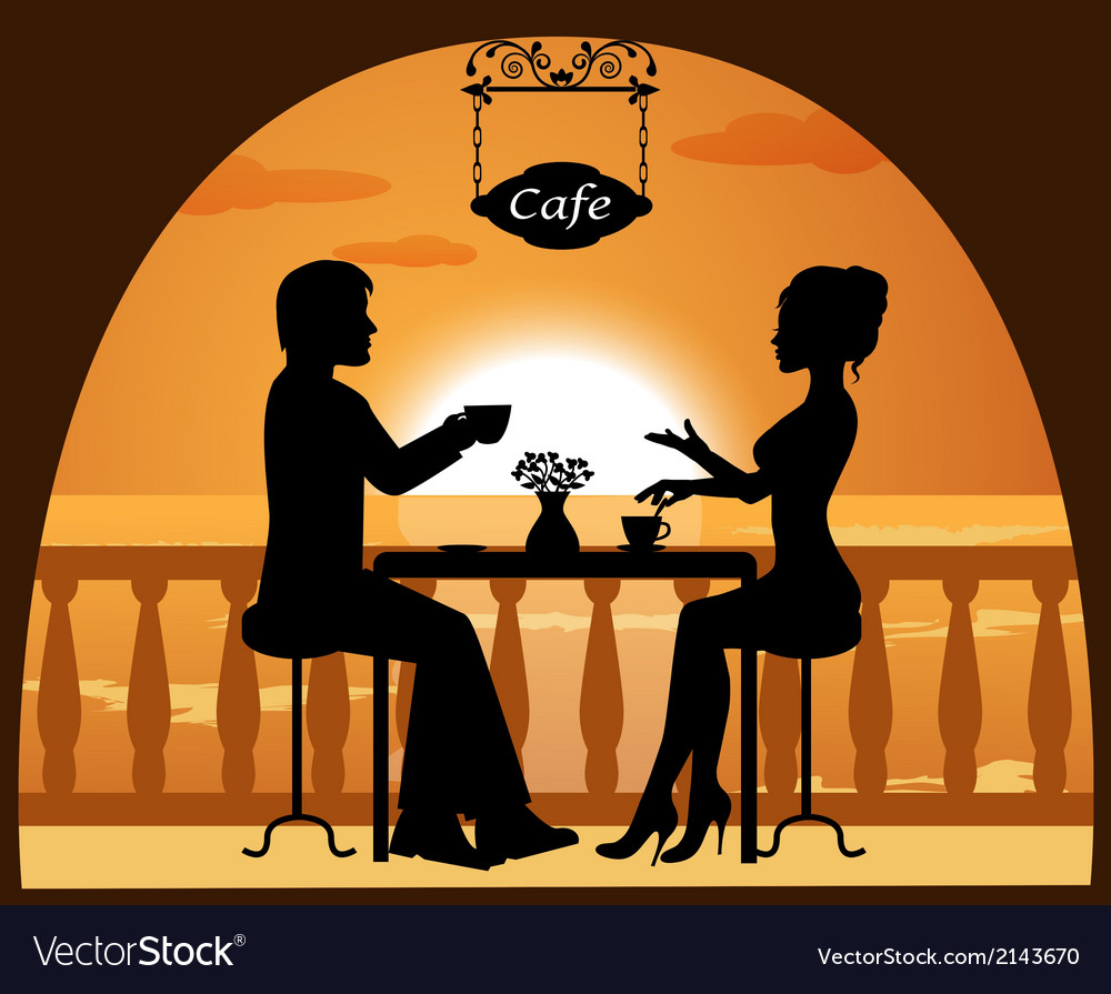 Couple in a cafe on the beach at sunset vector image