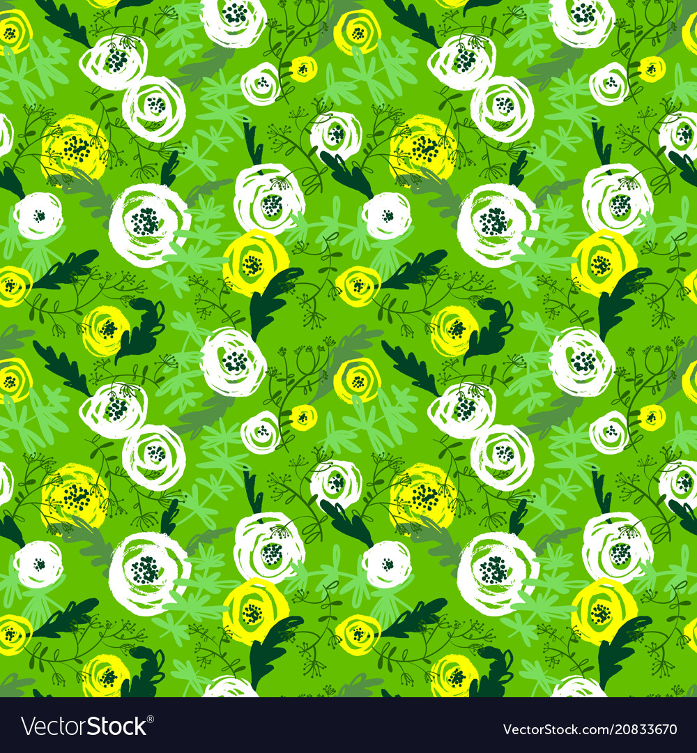 Cute floral seamless pattern background with hand
