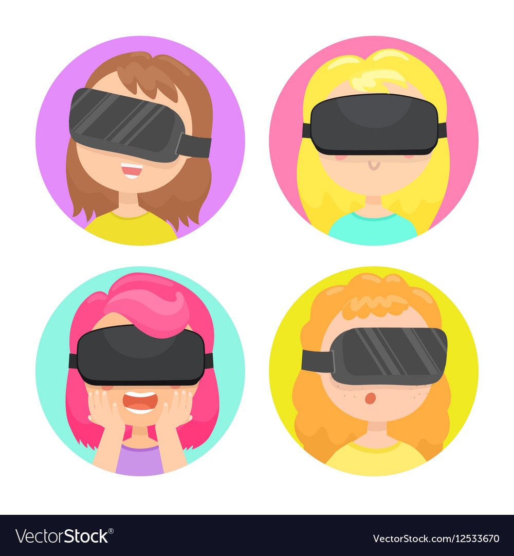 Four different girls in a virtual reality glasses