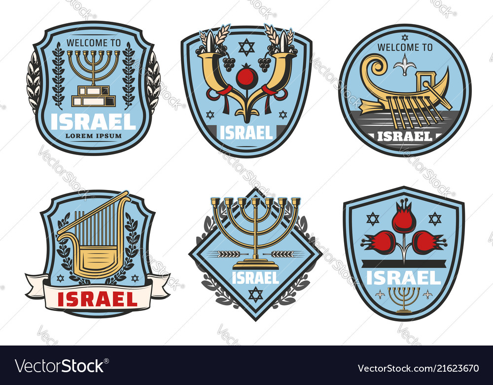 Israel travel landmark symbols