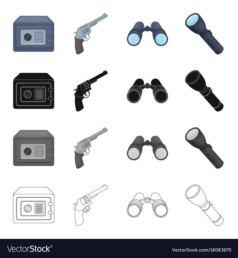 Safe with an electronic lock a detective gun vector image