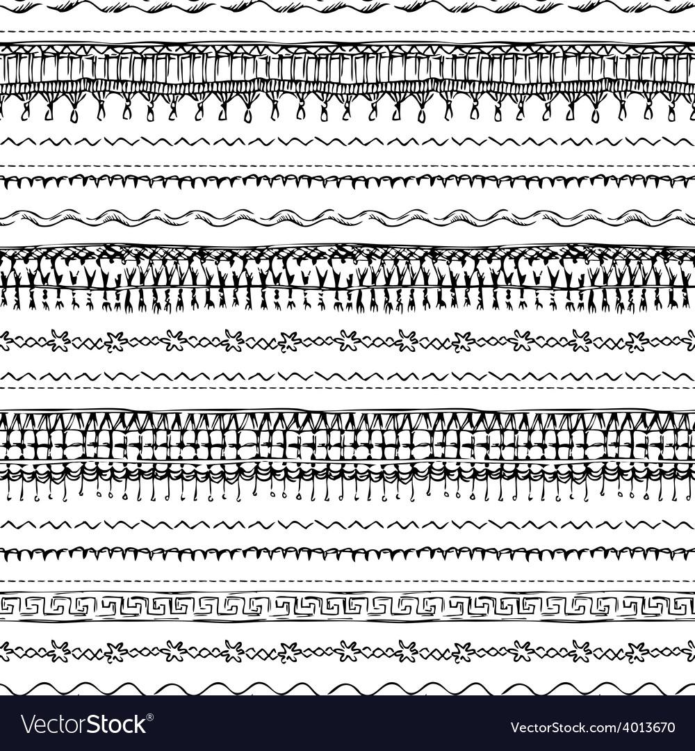 Seamless pattern of sewing stitches