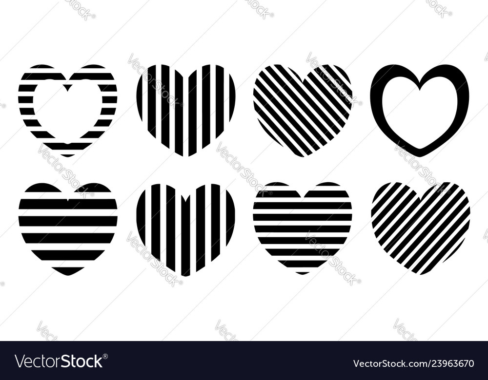 Striped heart set pattern design