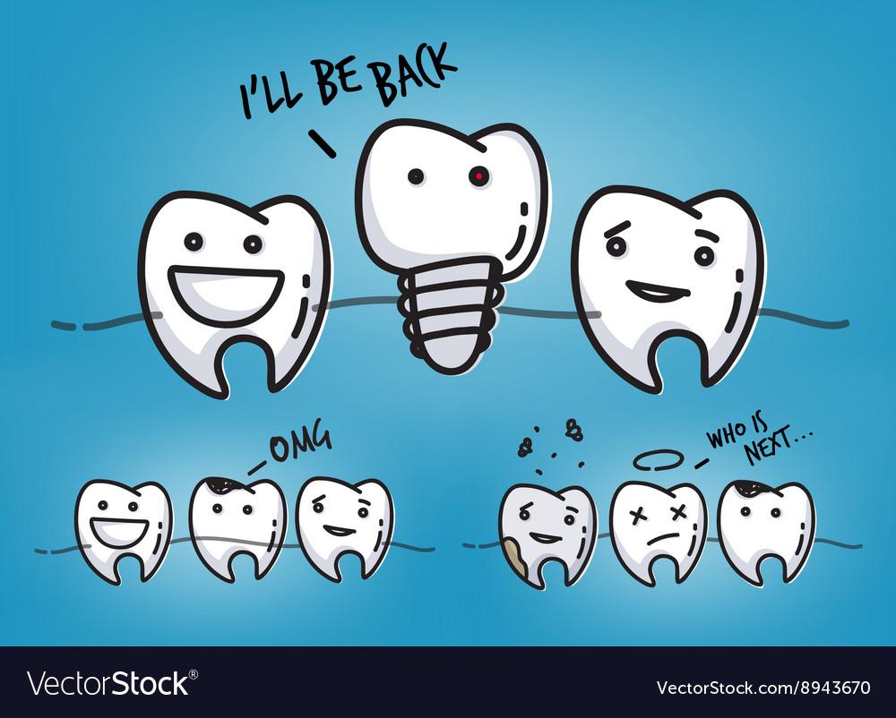 teeth cool blue cartoons royalty free vector image