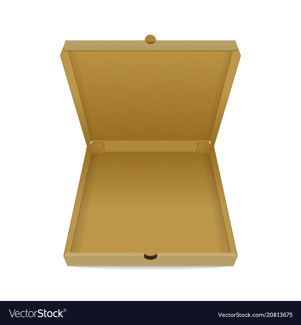 Empty cardboard pizza box