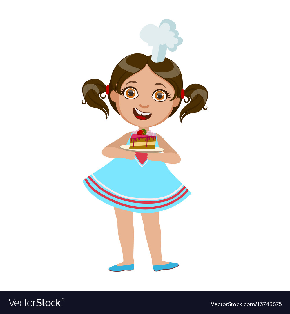 Girl holding plate with piece of cake cute kid in