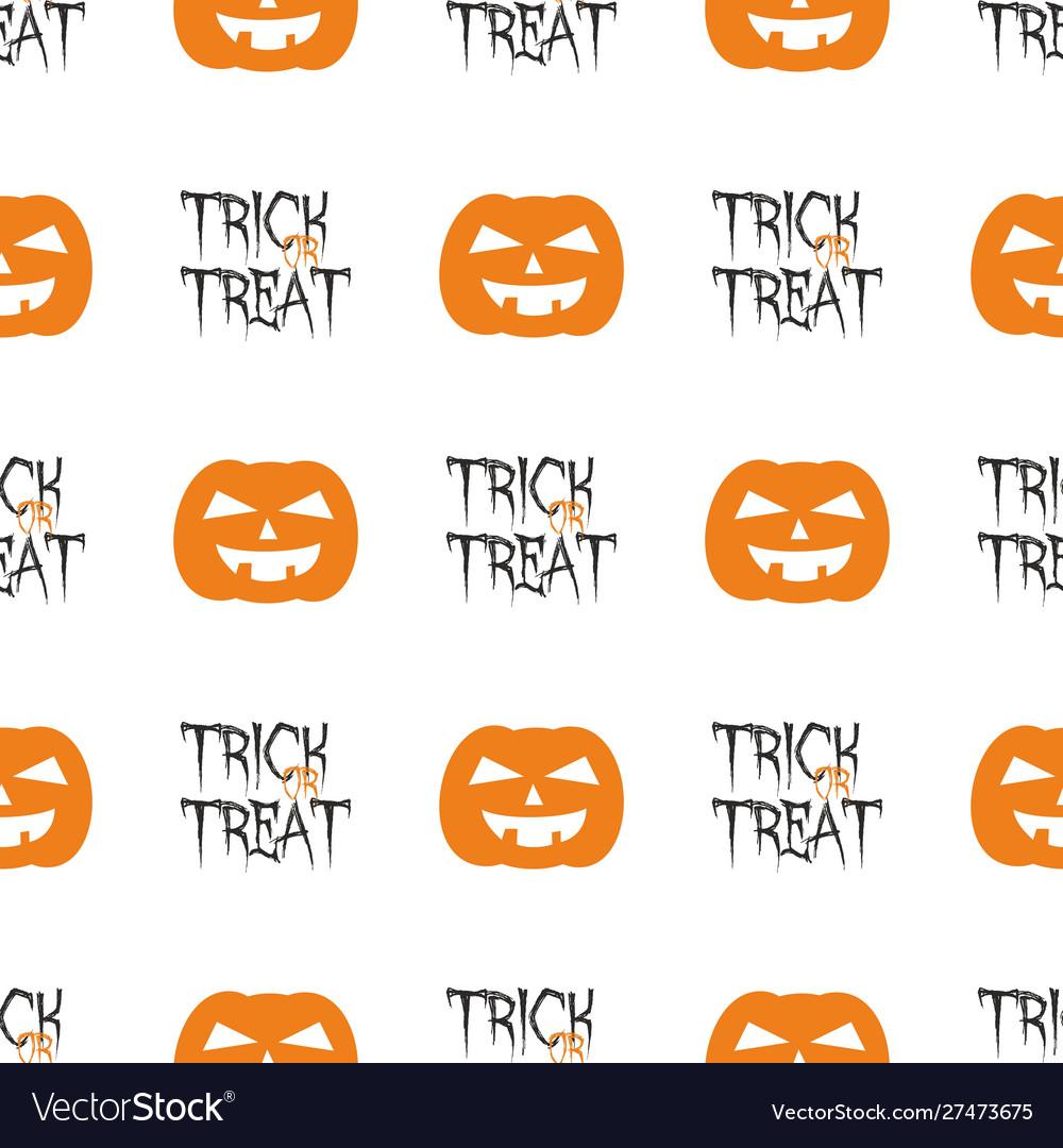 Halloween tile pattern with orange pumpkin