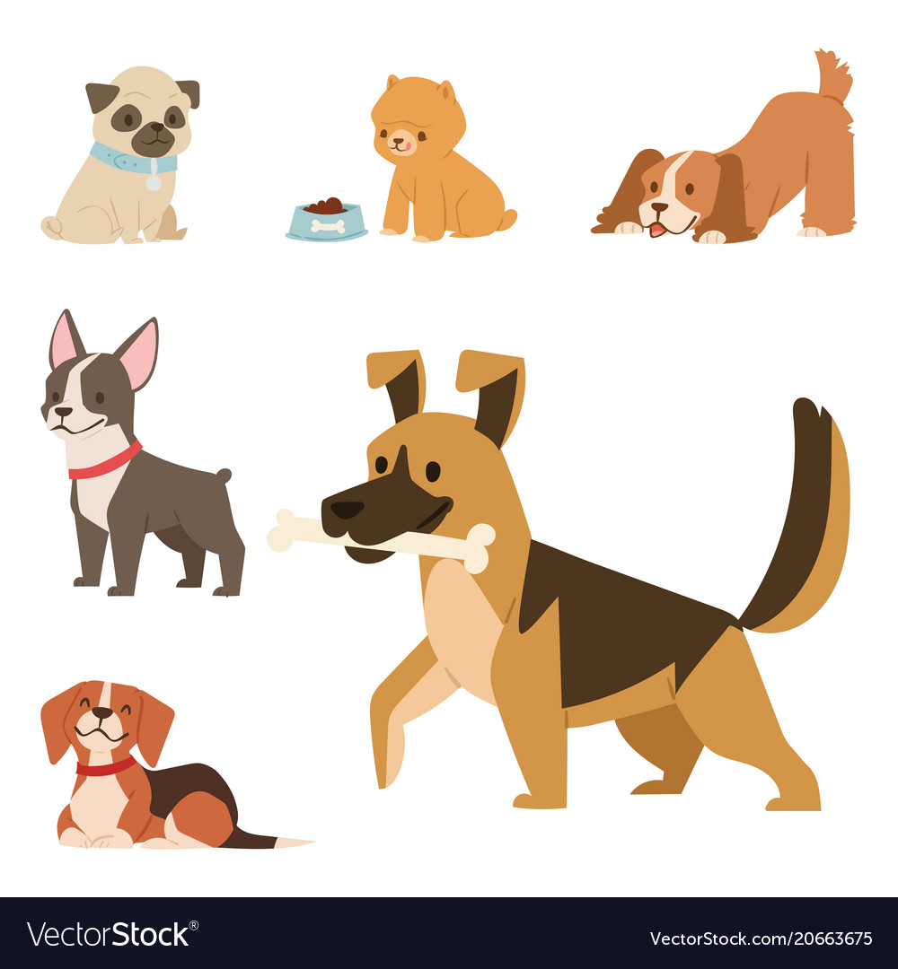 Puppy cute playing dogs characters funny purebred