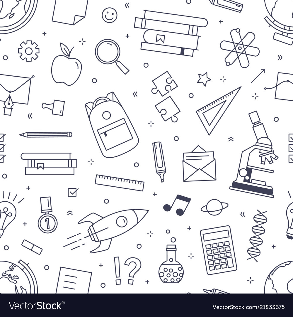 Seamless pattern with school stationery drawn
