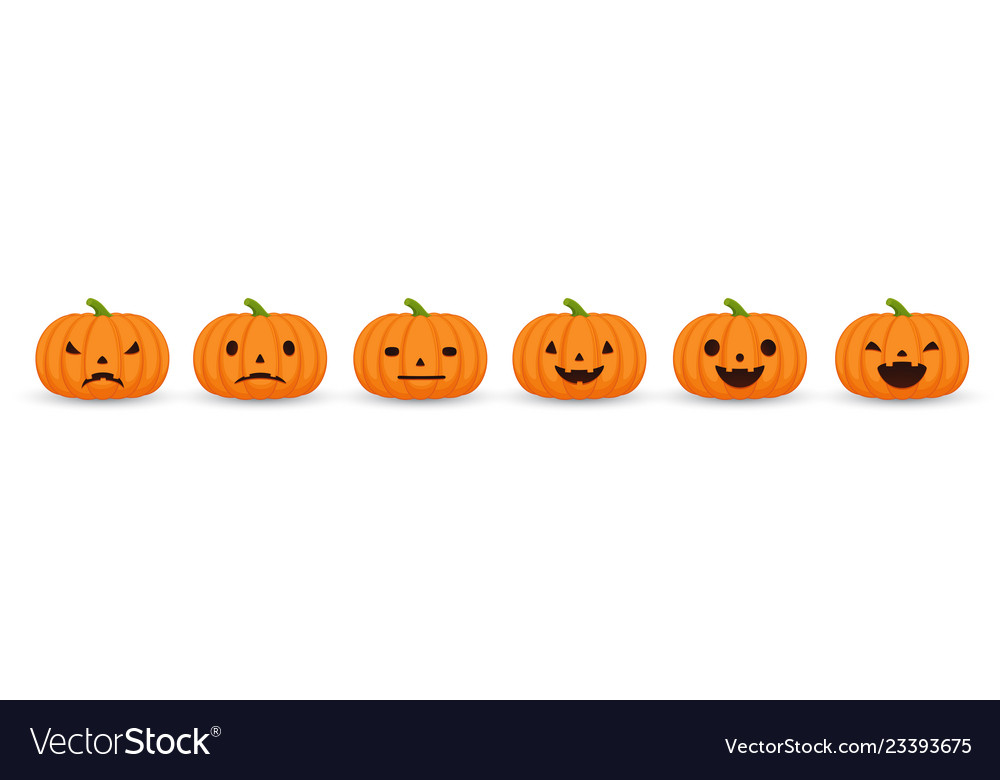 Set halloween pumpkins funny and scary facial