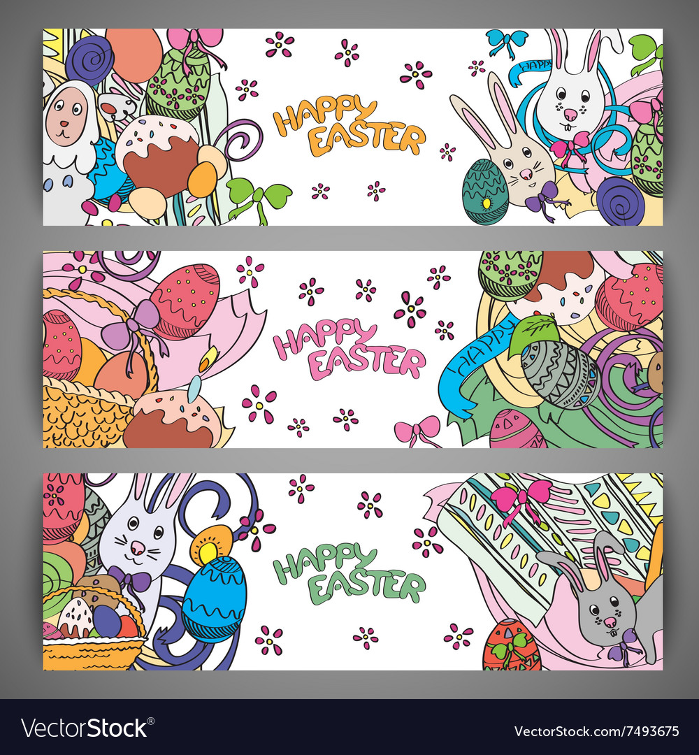 Set of creative multi colour banners for