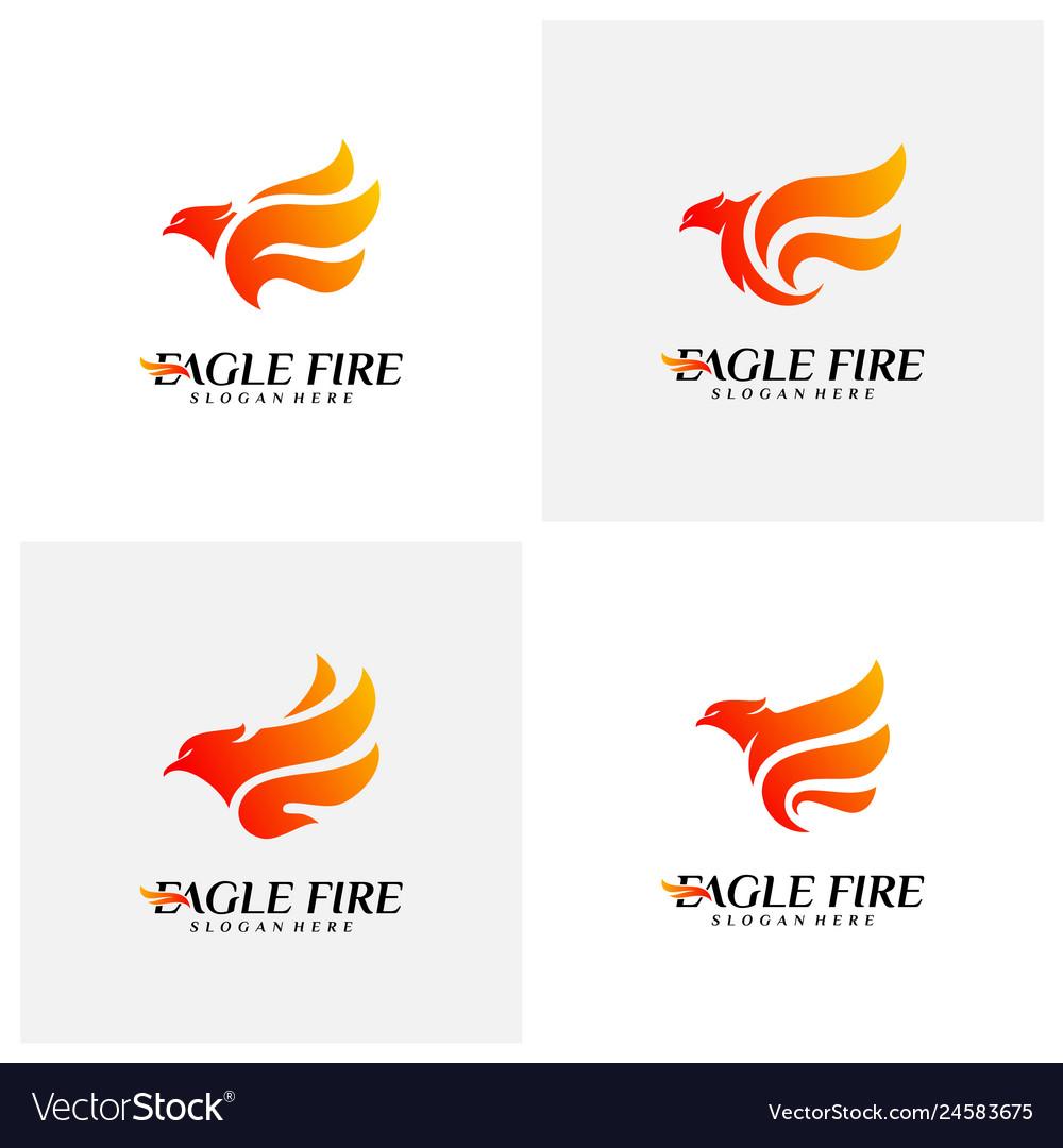 Set of phoenix fire bird logo design concepts