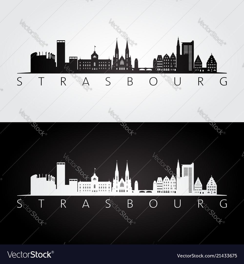 Strasbourg skyline and landmarks silhouette