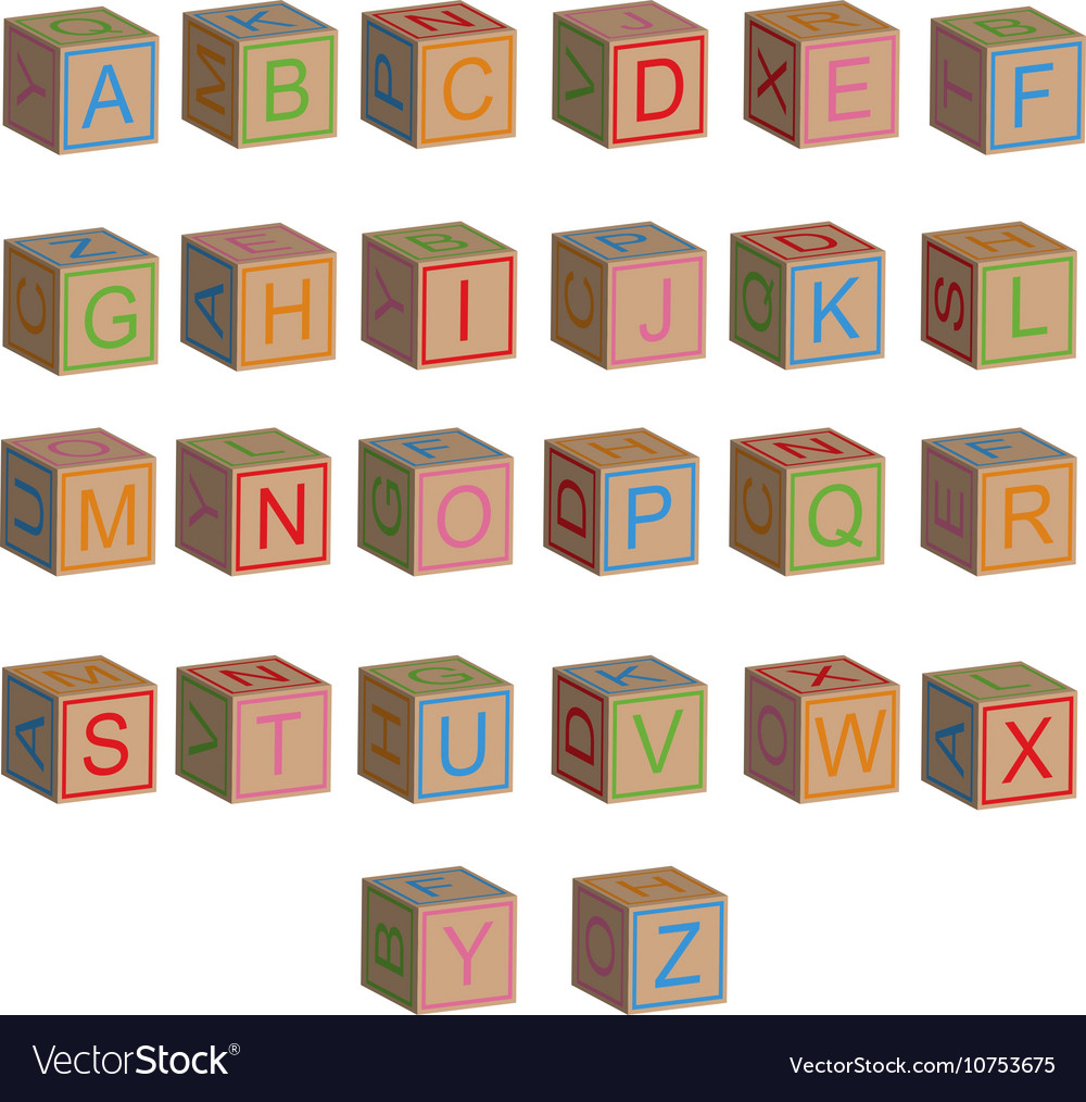 Toy block alphabet letters in 3D