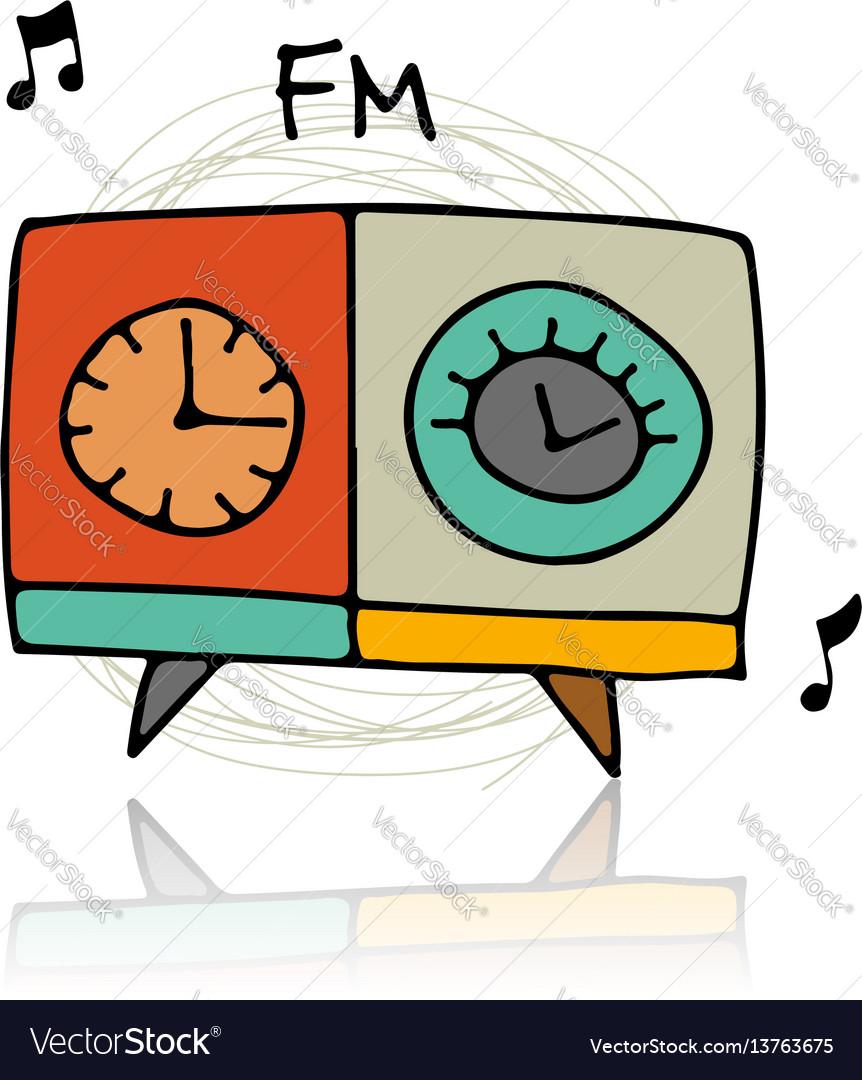Vintage radio sketch for your design