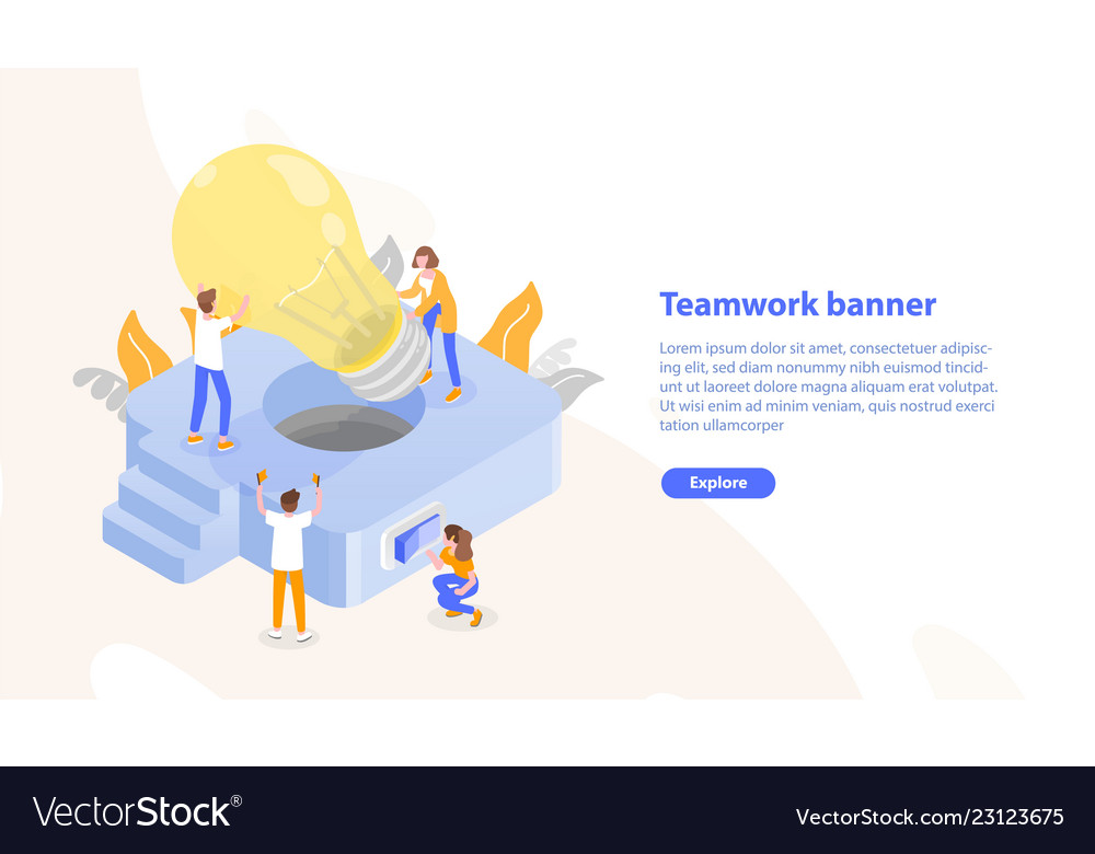 Web page template with group of people putting