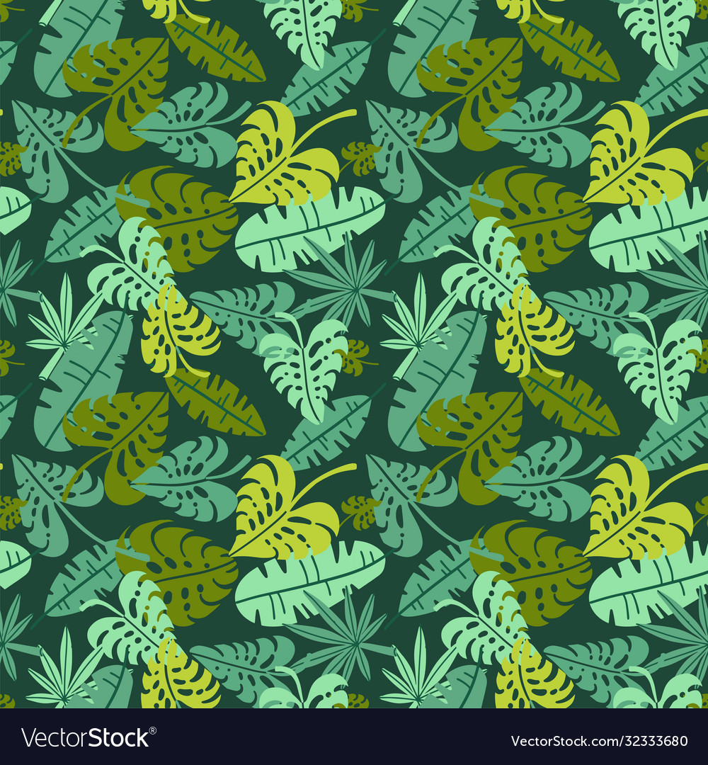 Abstract jungle print with silhouettes of