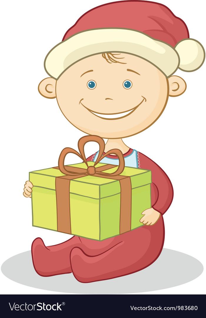 Baby Santa Claus with a gift box