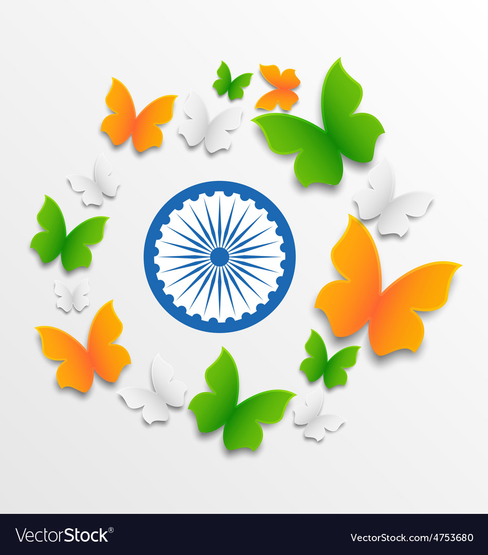 Butterflies in Traditional Tricolor of Indian Flag