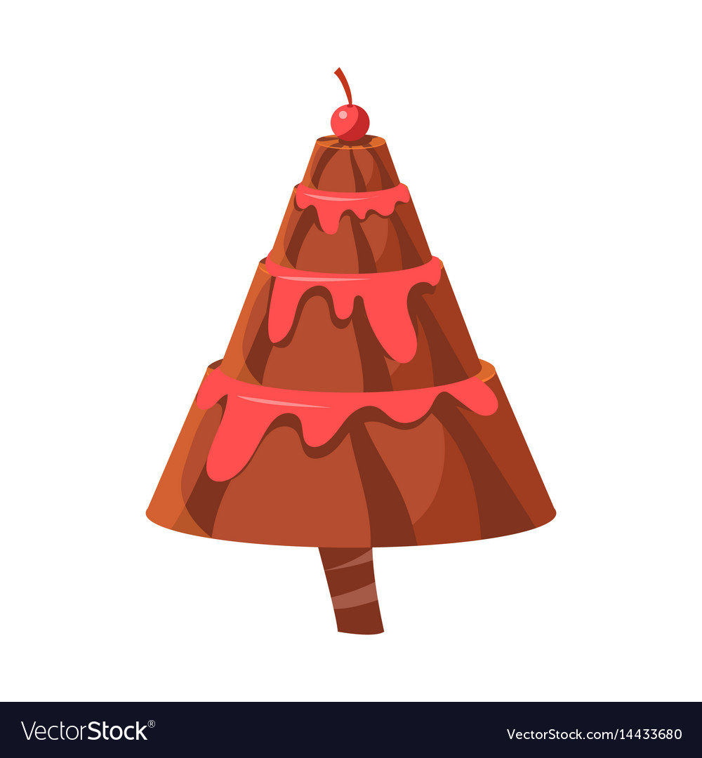 Chocolate cake fir tree colorful cartoon vector image