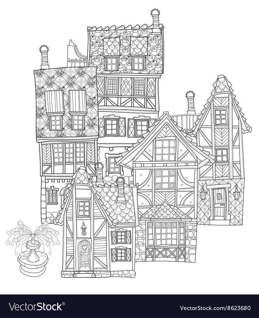 Cute fairy tale town doodle