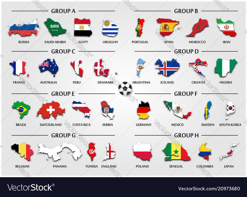 Football or soccer cup team group set