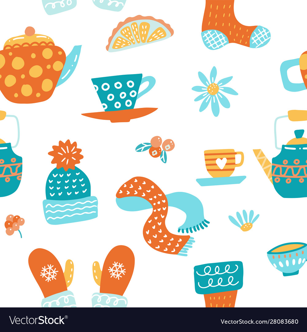 Hygge seamless pattern in cute