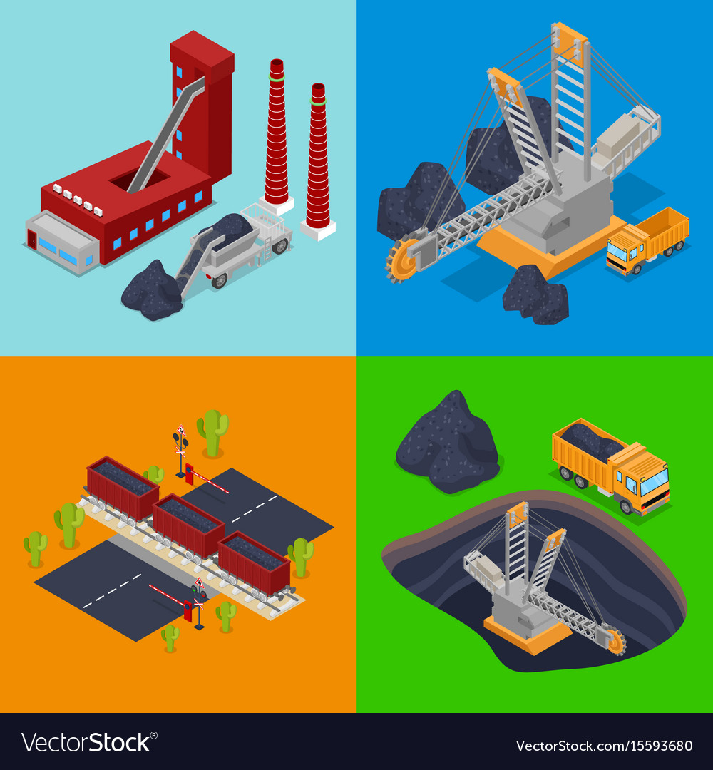Isometric coal industry with plant miner vector image