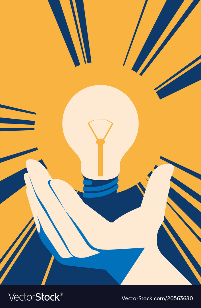 Lightbulb in hand with glow lamp flat
