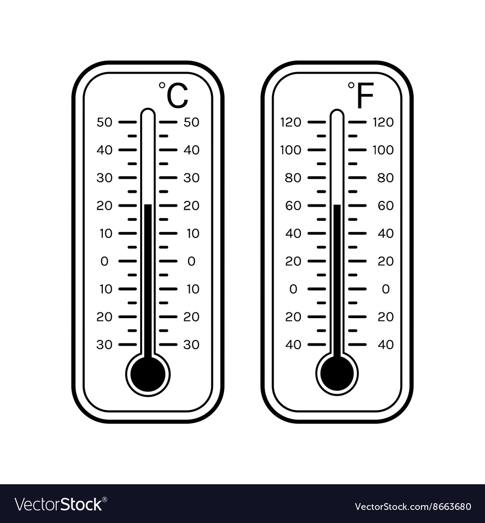 Linear flat icons of thermometers for weather vector image