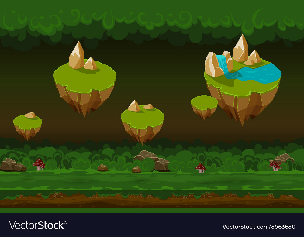 Night forest game background seamless cartoon