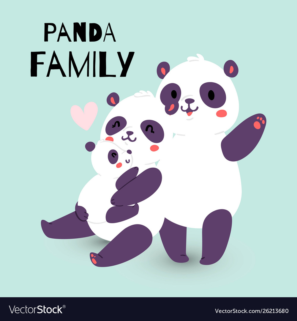 Panda family with adult mother and father
