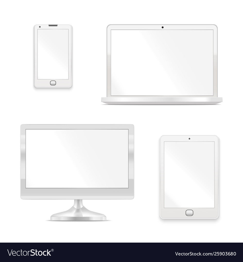 Realistic detailed 3d white blank device template