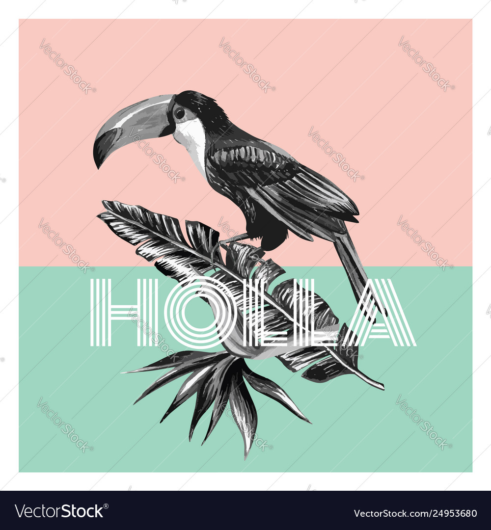 Toucan and tropical plants trendy print