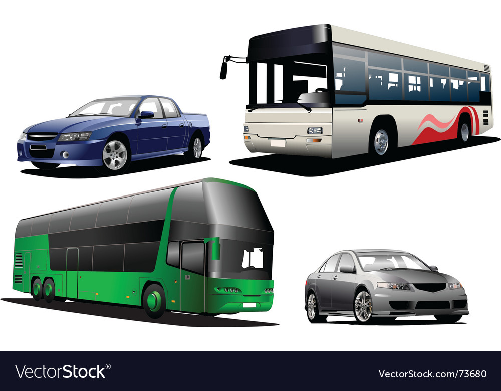 Two buses and two cars vector image