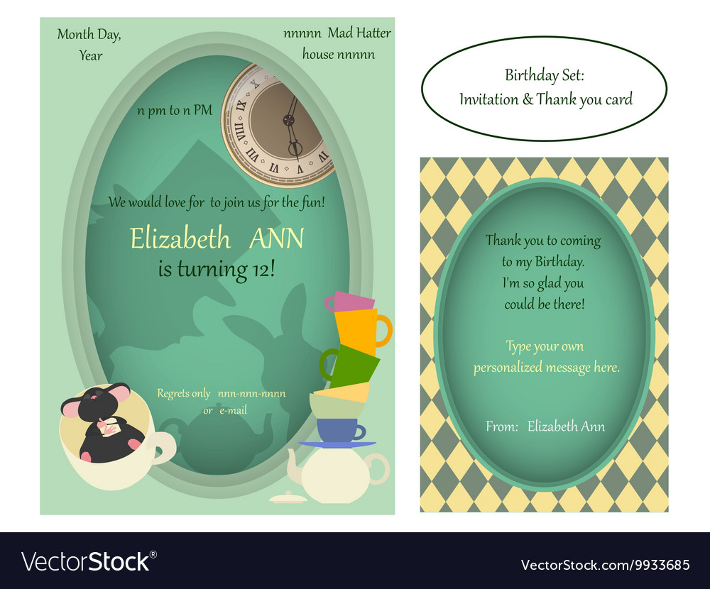 Alice in Wonderland Mad tea party Birthday Invite