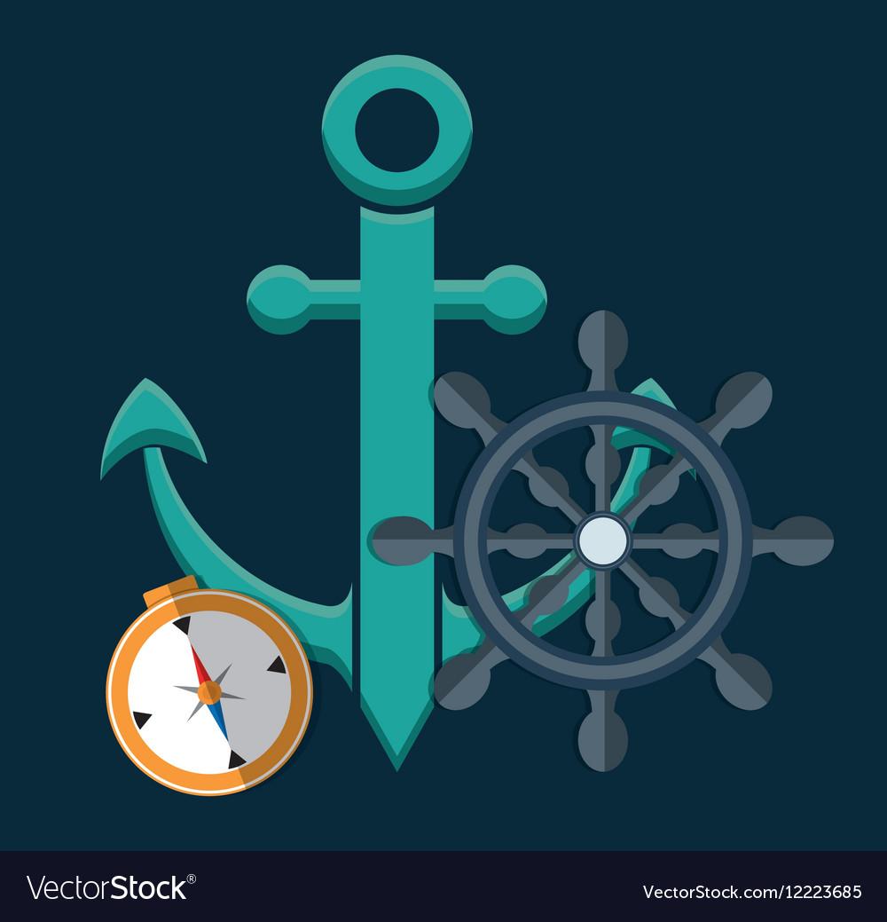 Anchor emblem icon image vector image