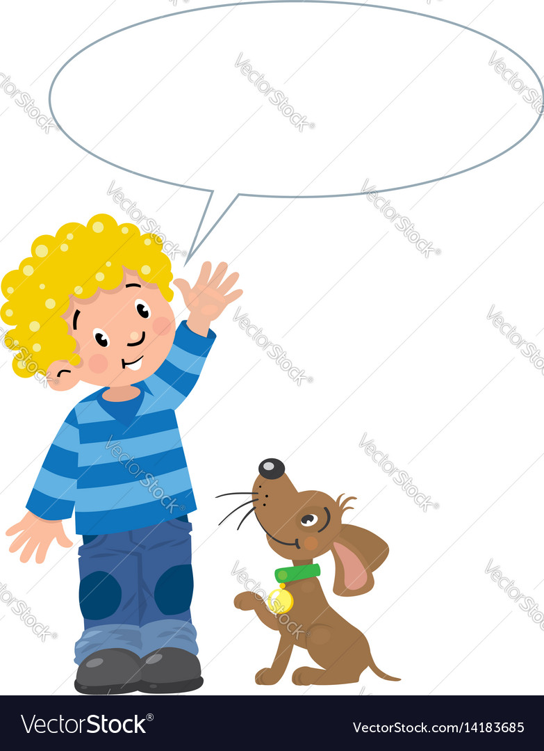 Boy and puppyn with balloon for text vector image