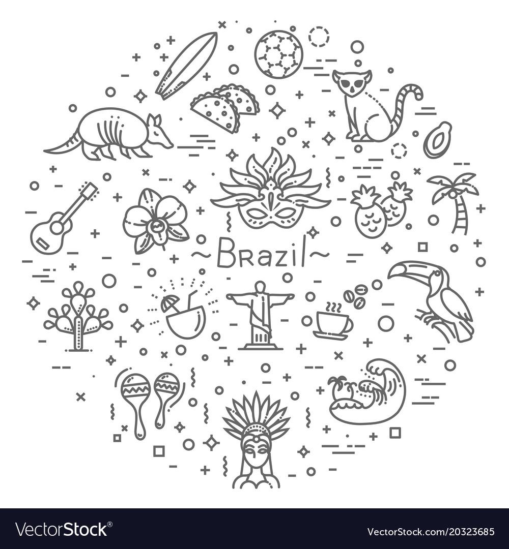 Brazil icon set flat design vector image