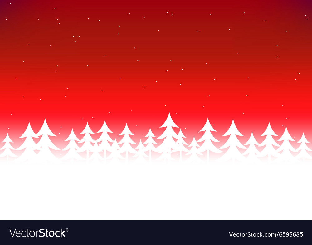 Christmas tree snow red sky