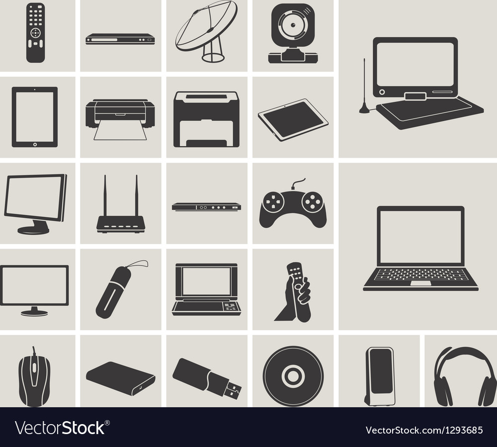 Computer electronic and media device icons set